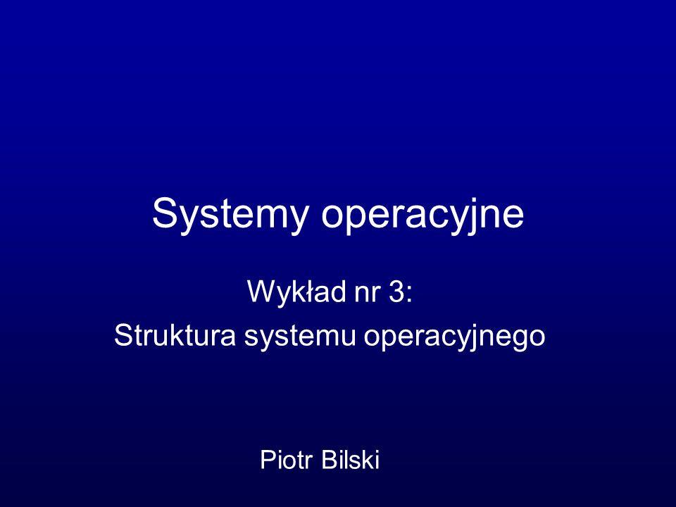 Wykład nr 3: Struktura systemu operacyjnego