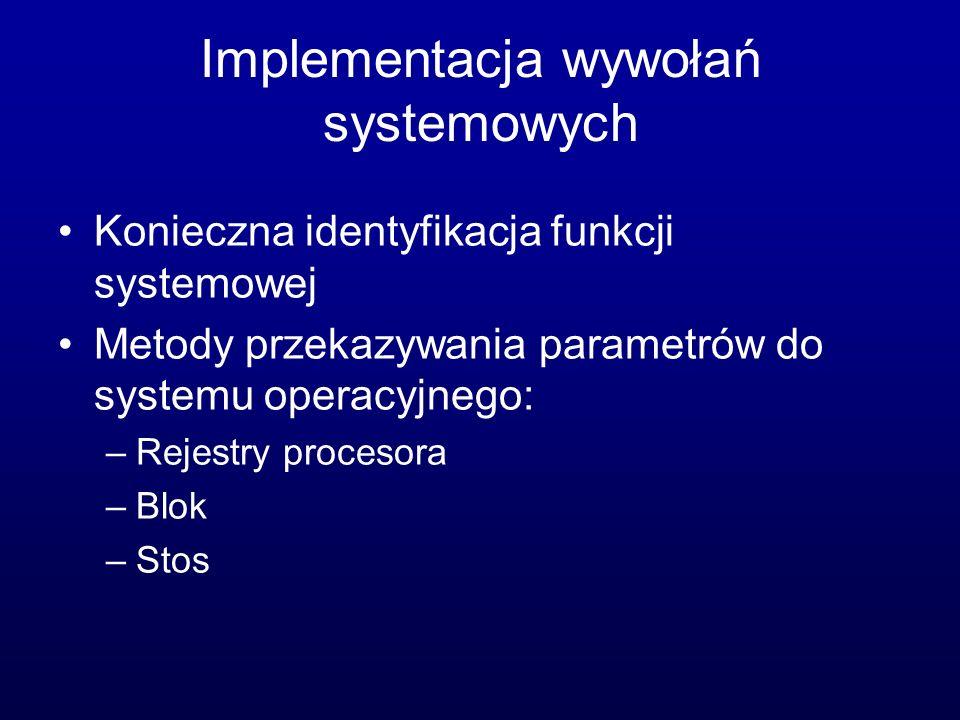 Implementacja wywołań systemowych
