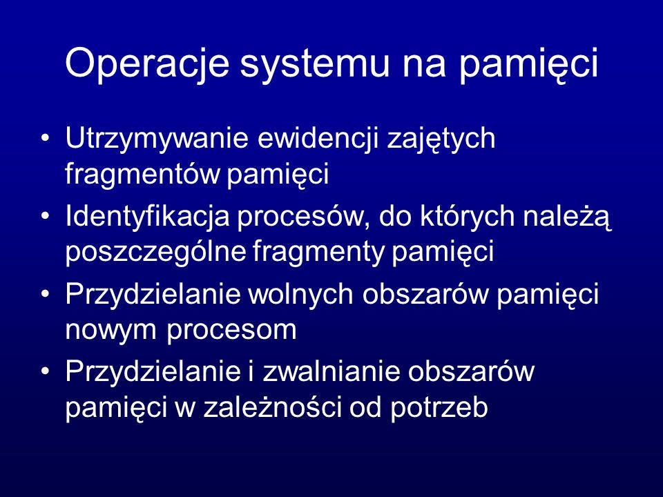 Operacje systemu na pamięci