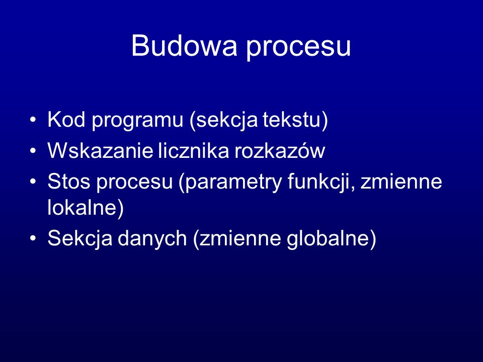 Budowa procesu Kod programu (sekcja tekstu)