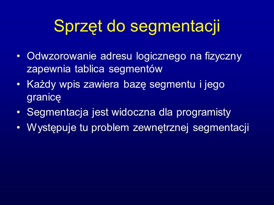 Sprzęt do segmentacji Odwzorowanie adresu logicznego na fizyczny zapewnia tablica segmentów. Każdy wpis zawiera bazę segmentu i jego granicę.