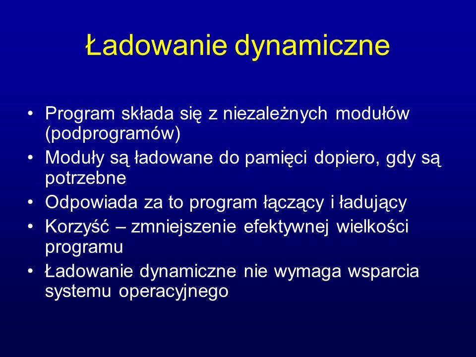 Ładowanie dynamiczne Program składa się z niezależnych modułów (podprogramów) Moduły są ładowane do pamięci dopiero, gdy są potrzebne.