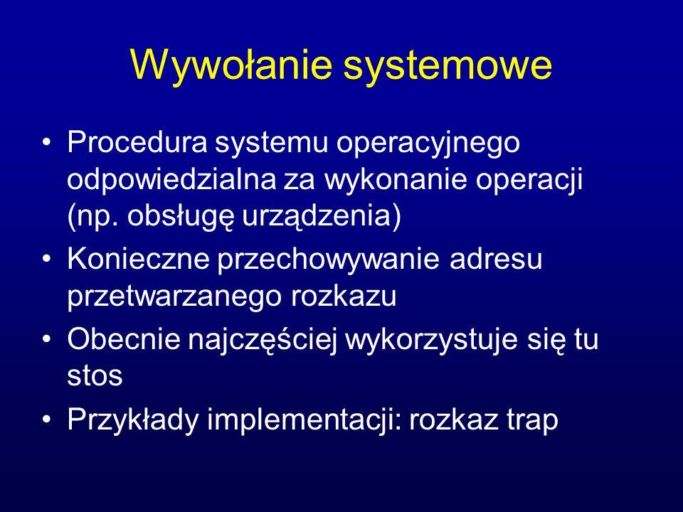 Wywołanie systemowe Procedura systemu operacyjnego odpowiedzialna za wykonanie operacji (np. obsługę urządzenia)