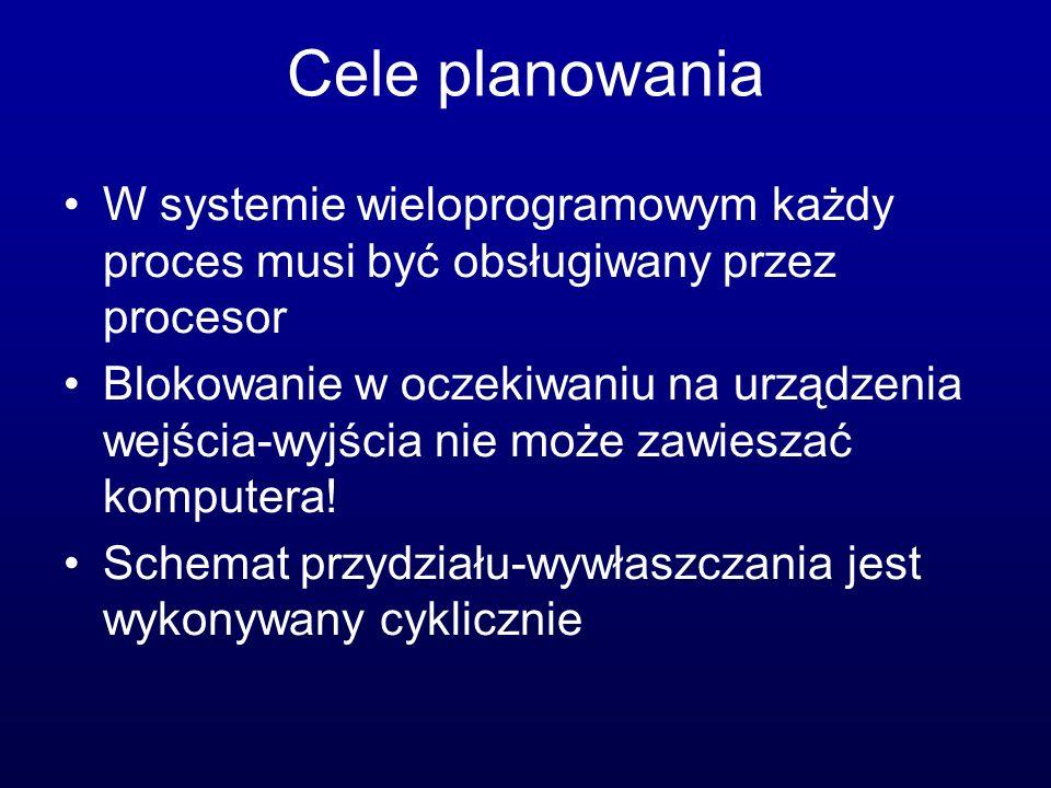 Cele planowania W systemie wieloprogramowym każdy proces musi być obsługiwany przez procesor.