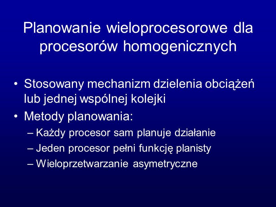 Planowanie wieloprocesorowe dla procesorów homogenicznych