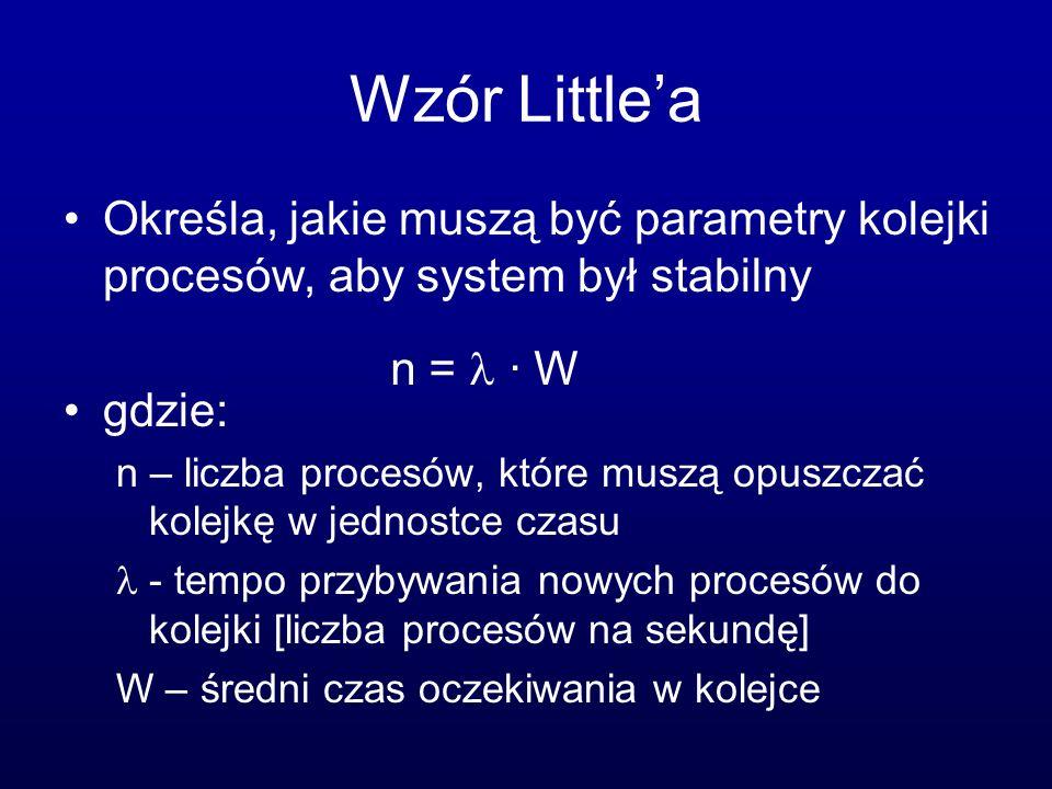 Wzór Little'a Określa, jakie muszą być parametry kolejki procesów, aby system był stabilny. gdzie:
