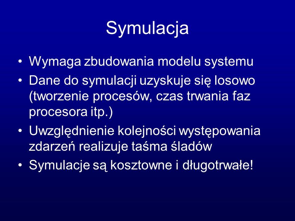 Symulacja Wymaga zbudowania modelu systemu