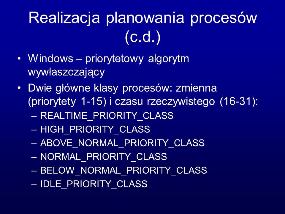 Realizacja planowania procesów (c.d.)