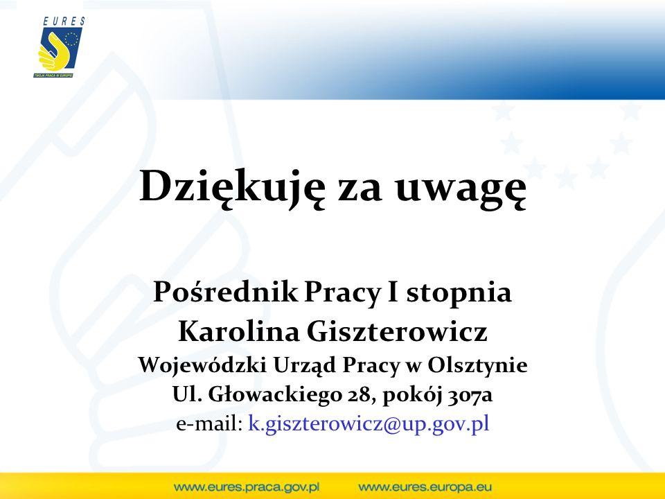 Dziękuję za uwagę Pośrednik Pracy I stopnia Karolina Giszterowicz