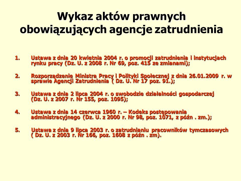 Wykaz aktów prawnych obowiązujących agencje zatrudnienia