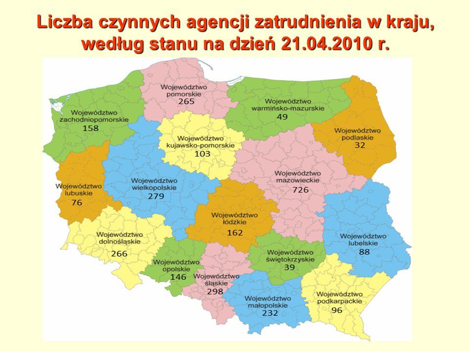 Liczba czynnych agencji zatrudnienia w kraju, według stanu na dzień 21