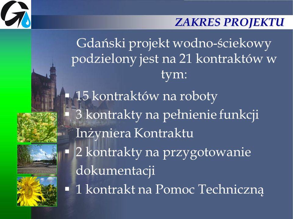Gdański projekt wodno-ściekowy podzielony jest na 21 kontraktów w tym: