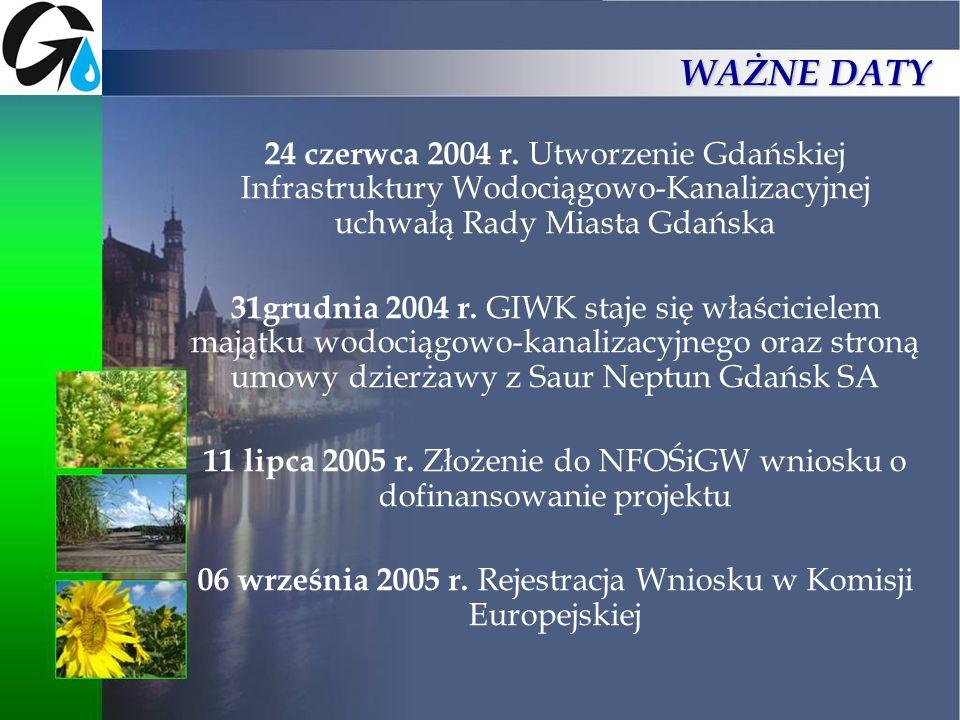 WAŻNE DATY24 czerwca 2004 r. Utworzenie Gdańskiej Infrastruktury Wodociągowo-Kanalizacyjnej uchwałą Rady Miasta Gdańska.