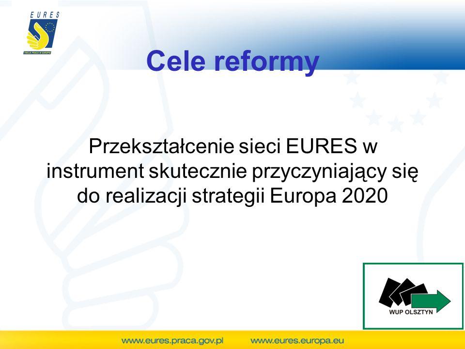 Cele reformy Przekształcenie sieci EURES w instrument skutecznie przyczyniający się do realizacji strategii Europa 2020.