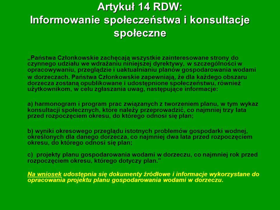 Artykuł 14 RDW: Informowanie społeczeństwa i konsultacje społeczne