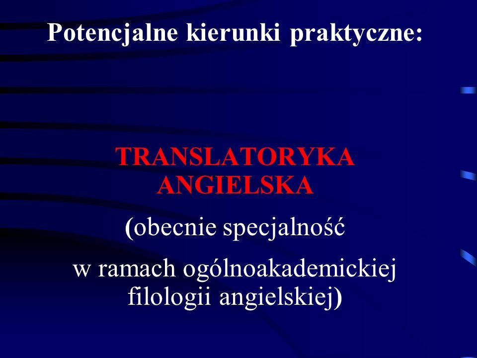 Potencjalne kierunki praktyczne: TRANSLATORYKA ANGIELSKA