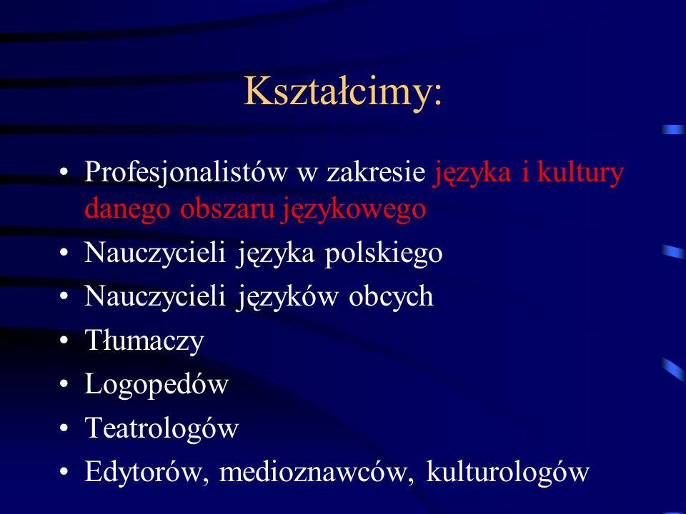 Kształcimy: Profesjonalistów w zakresie języka i kultury danego obszaru językowego. Nauczycieli języka polskiego.