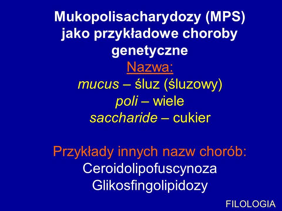 Mukopolisacharydozy (MPS) jako przykładowe choroby genetyczne Nazwa: mucus – śluz (śluzowy) poli – wiele saccharide – cukier Przykłady innych nazw chorób: Ceroidolipofuscynoza Glikosfingolipidozy
