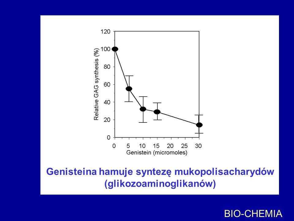 Genisteina hamuje syntezę mukopolisacharydów (glikozoaminoglikanów)