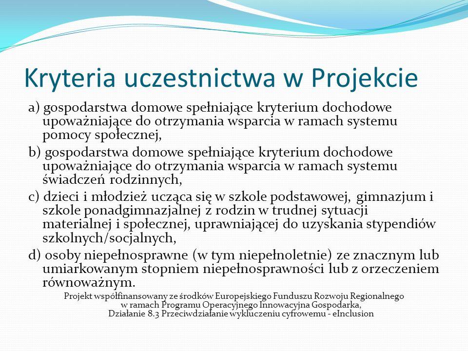 Kryteria uczestnictwa w Projekcie