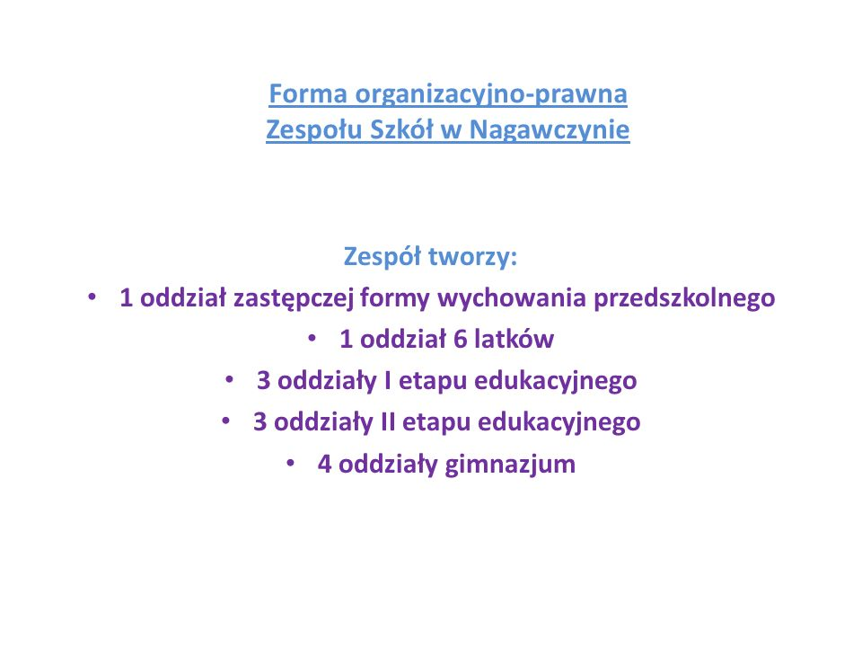 Forma organizacyjno-prawna Zespołu Szkół w Nagawczynie