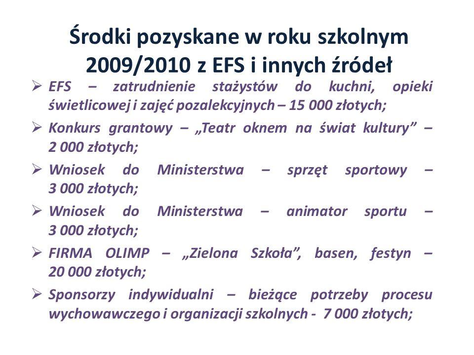 Środki pozyskane w roku szkolnym 2009/2010 z EFS i innych źródeł