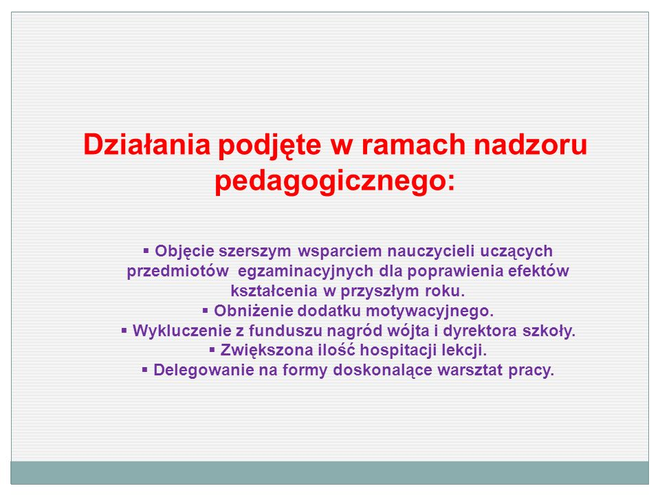 Działania podjęte w ramach nadzoru pedagogicznego: