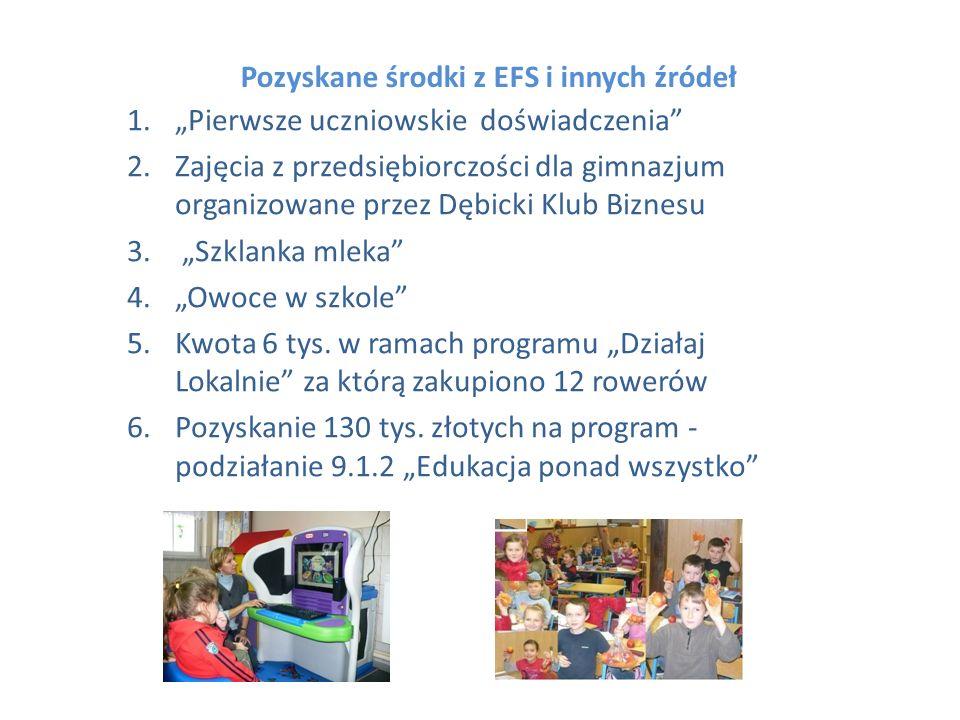 Pozyskane środki z EFS i innych źródeł