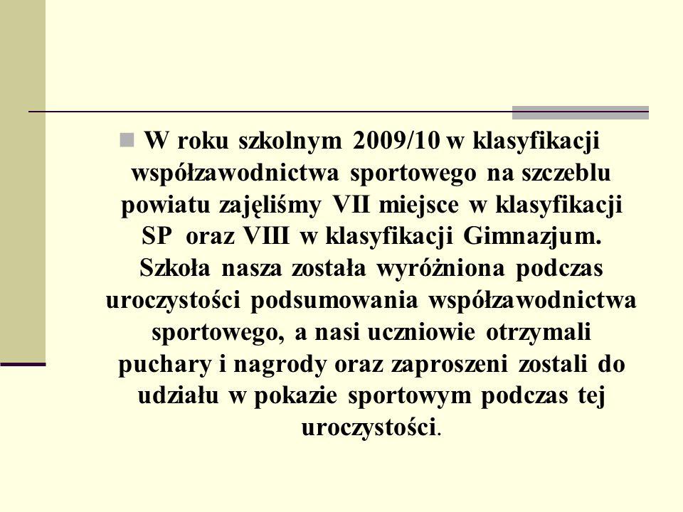 W roku szkolnym 2009/10 w klasyfikacji współzawodnictwa sportowego na szczeblu powiatu zajęliśmy VII miejsce w klasyfikacji SP oraz VIII w klasyfikacji Gimnazjum.