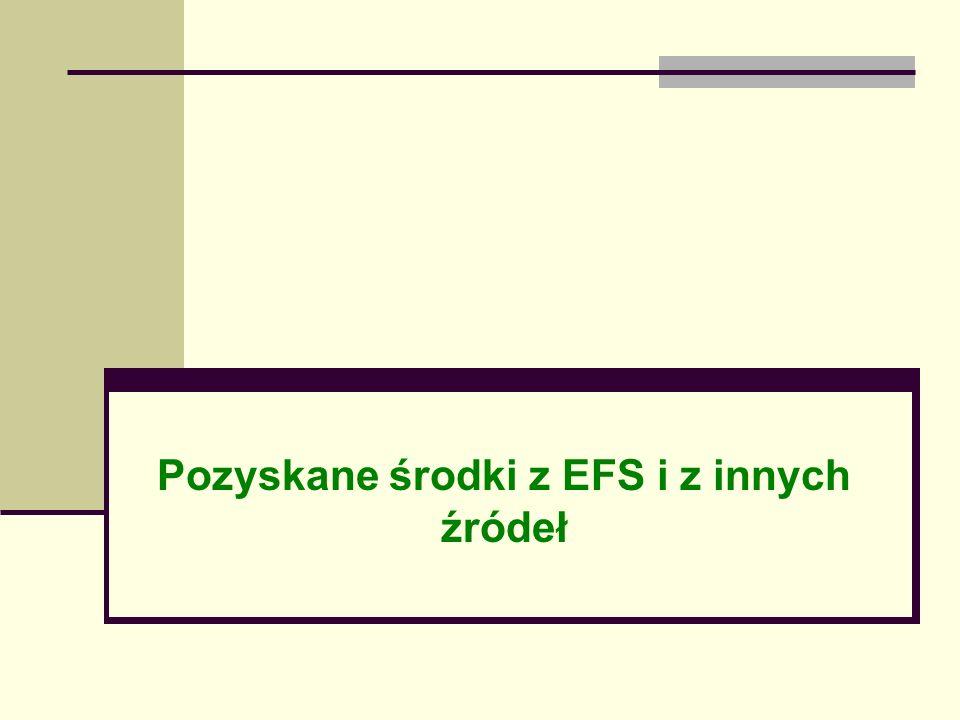 Pozyskane środki z EFS i z innych źródeł
