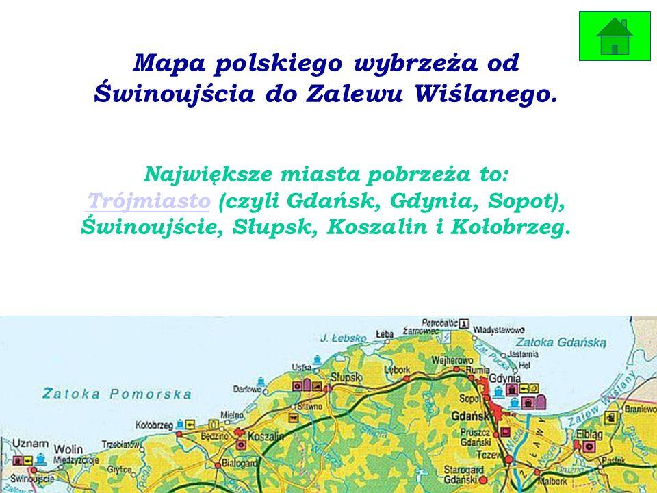 Mapa polskiego wybrzeża od Świnoujścia do Zalewu Wiślanego.