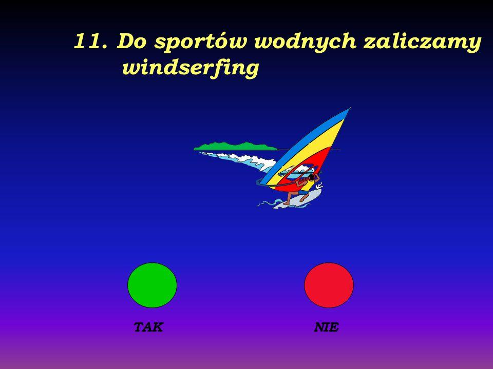 11. Do sportów wodnych zaliczamy windserfing