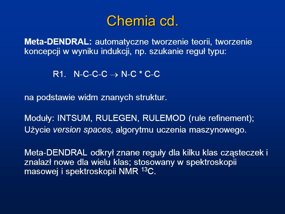 Chemia cd. Meta-DENDRAL: automatyczne tworzenie teorii, tworzenie koncepcji w wyniku indukcji, np. szukanie reguł typu: