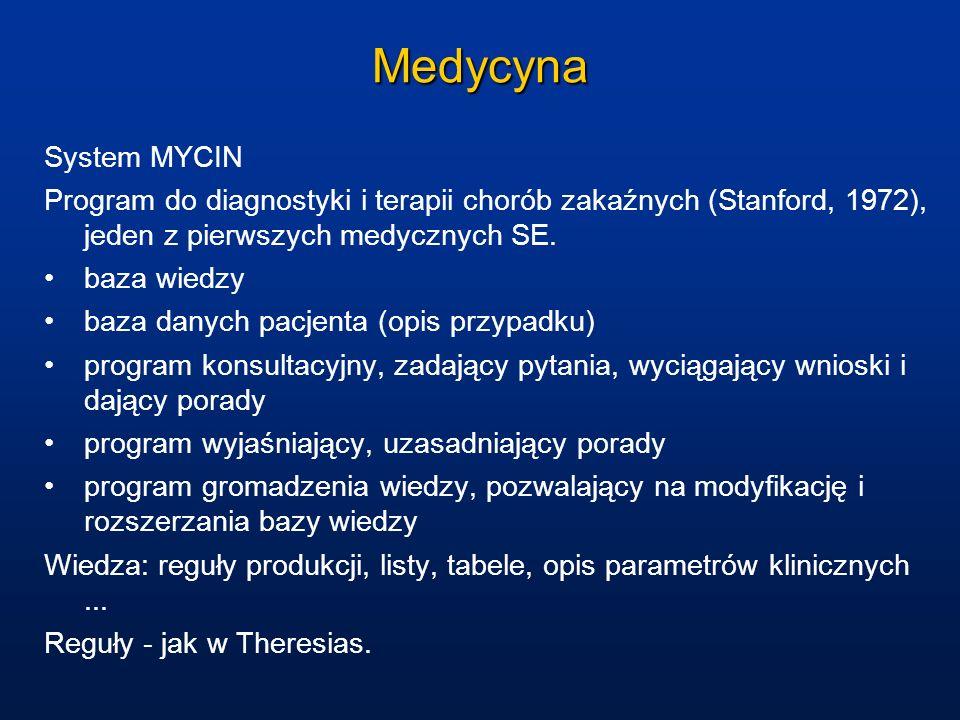 Medycyna System MYCIN. Program do diagnostyki i terapii chorób zakaźnych (Stanford, 1972), jeden z pierwszych medycznych SE.