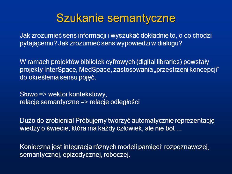Szukanie semantyczne Jak zrozumieć sens informacji i wyszukać dokładnie to, o co chodzi pytającemu Jak zrozumieć sens wypowiedzi w dialogu