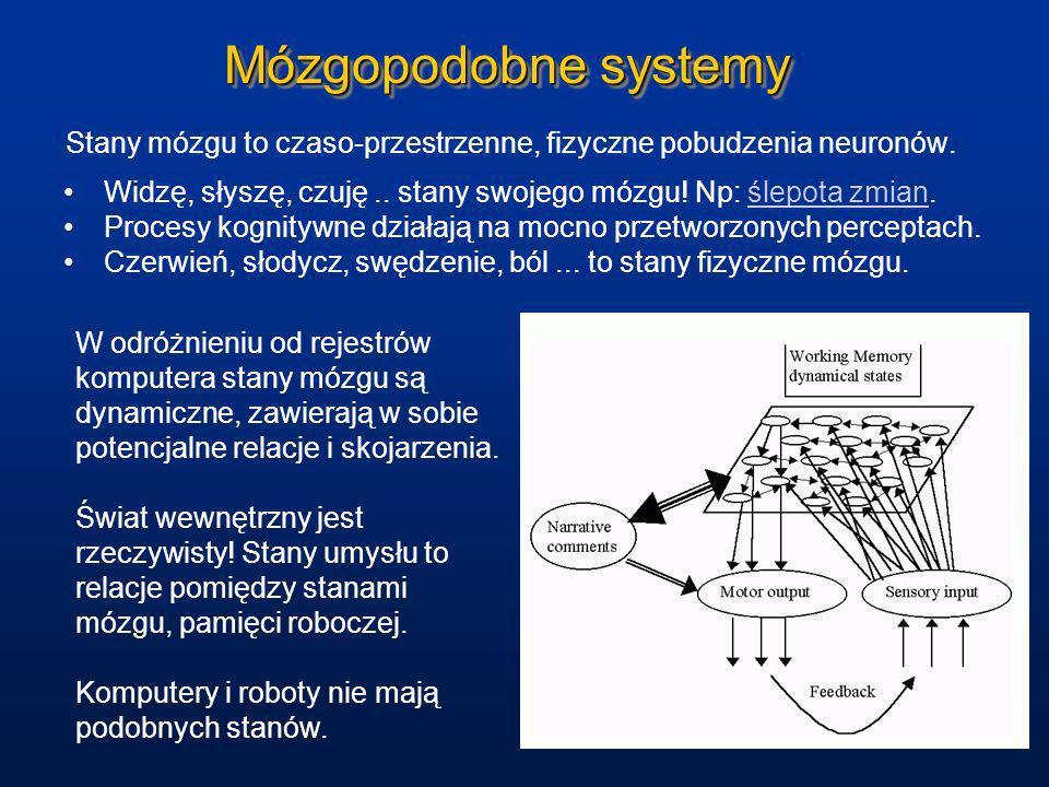 Mózgopodobne systemyStany mózgu to czaso-przestrzenne, fizyczne pobudzenia neuronów. Widzę, słyszę, czuję .. stany swojego mózgu! Np: ślepota zmian.
