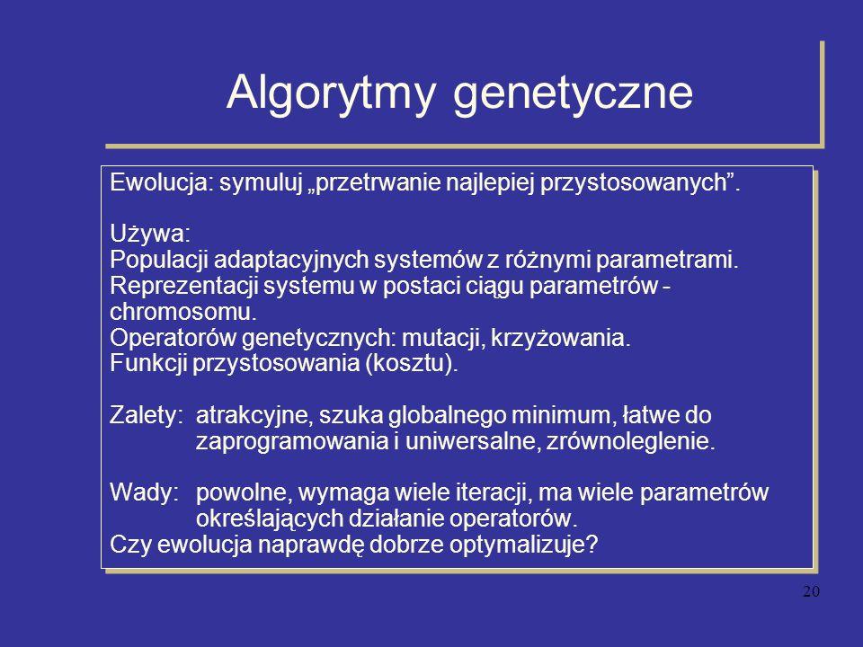 """Algorytmy genetyczne Ewolucja: symuluj """"przetrwanie najlepiej przystosowanych . Używa: Populacji adaptacyjnych systemów z różnymi parametrami."""