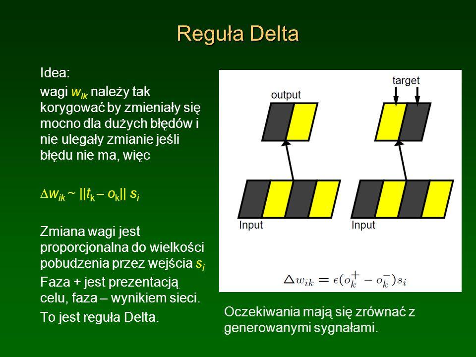 Reguła Delta Idea: wagi wik należy tak korygować by zmieniały się mocno dla dużych błędów i nie ulegały zmianie jeśli błędu nie ma, więc.