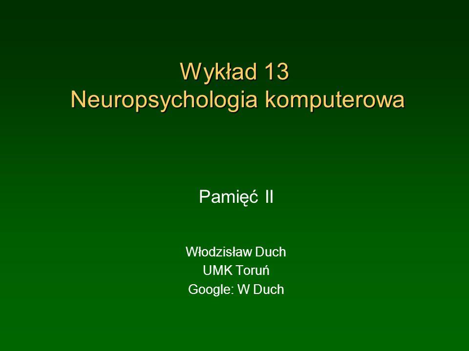 Wykład 13 Neuropsychologia komputerowa
