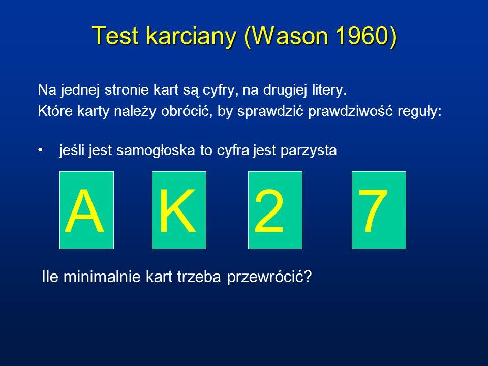 A K 2 7 Test karciany (Wason 1960)