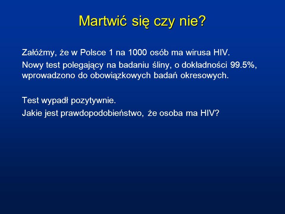 Martwić się czy nie Załóżmy, że w Polsce 1 na 1000 osób ma wirusa HIV.