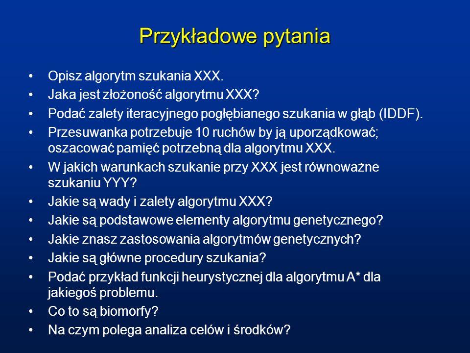Przykładowe pytania Opisz algorytm szukania XXX.