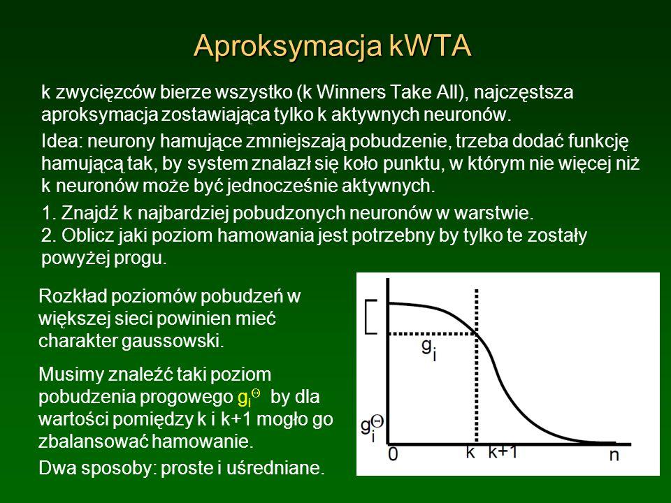 Aproksymacja kWTA k zwycięzców bierze wszystko (k Winners Take All), najczęstsza aproksymacja zostawiająca tylko k aktywnych neuronów.