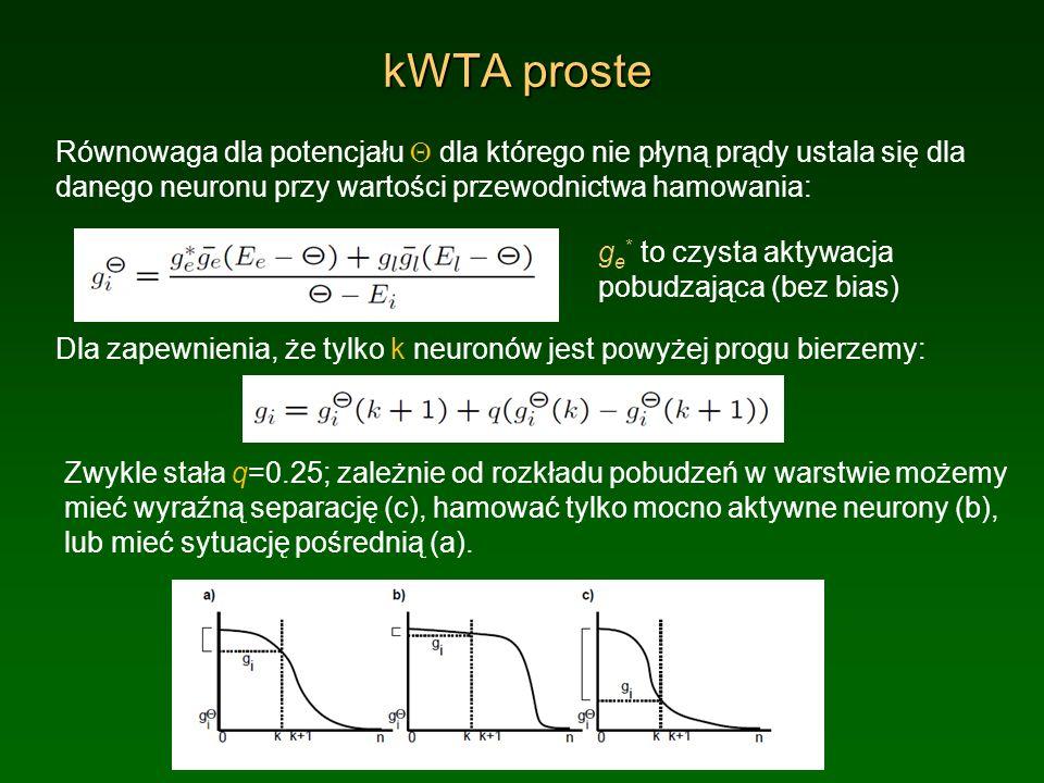 kWTA proste Równowaga dla potencjału Q dla którego nie płyną prądy ustala się dla danego neuronu przy wartości przewodnictwa hamowania: