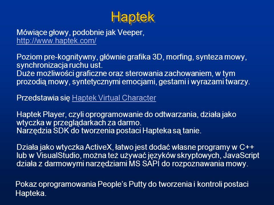Haptek Mówiące głowy, podobnie jak Veeper, http://www.haptek.com/