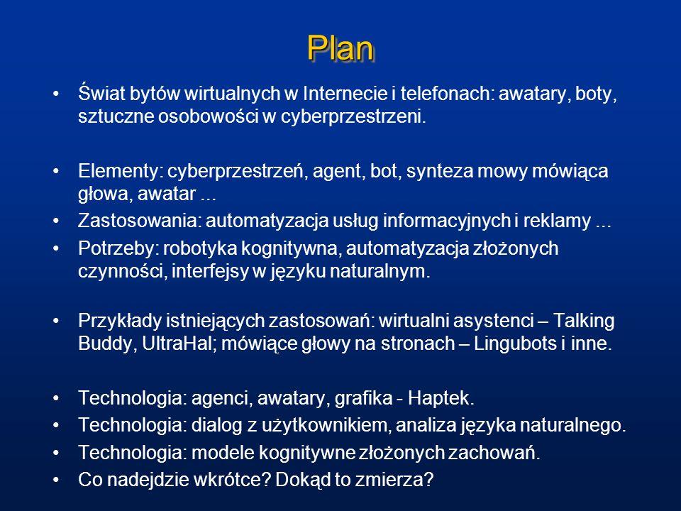 PlanŚwiat bytów wirtualnych w Internecie i telefonach: awatary, boty, sztuczne osobowości w cyberprzestrzeni.