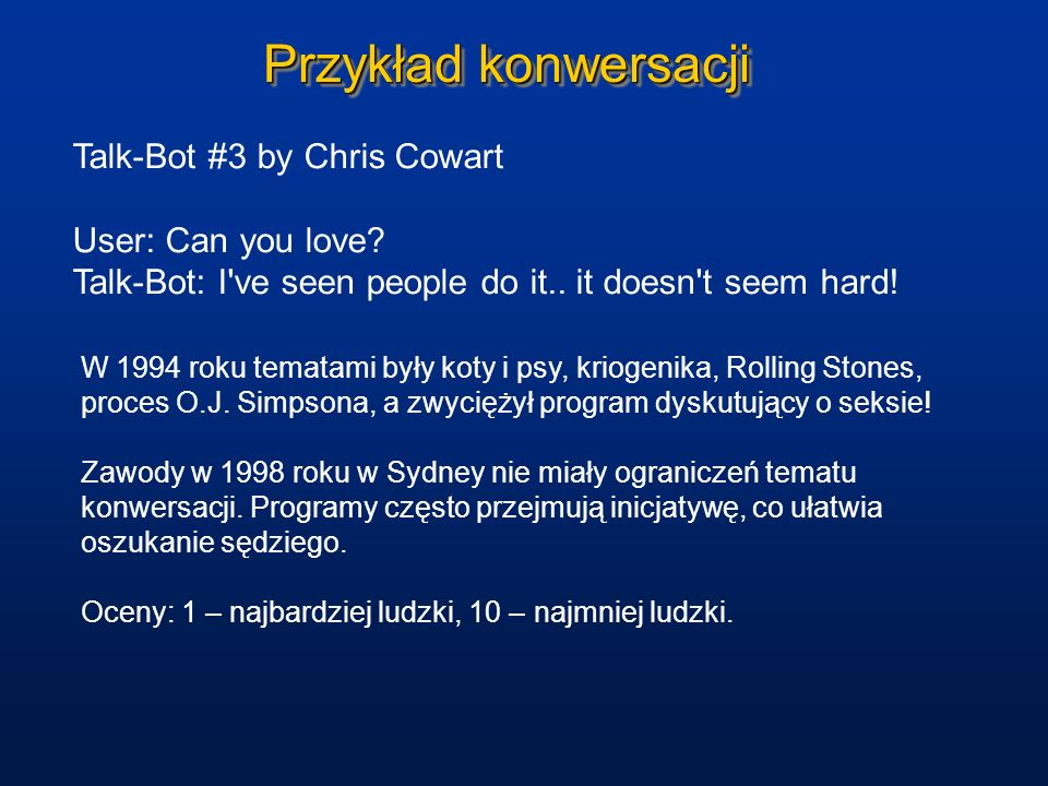 Przykład konwersacji Talk-Bot #3 by Chris Cowart User: Can you love