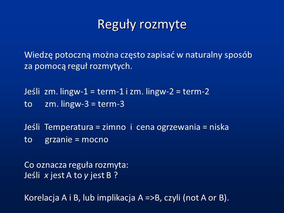 Reguły rozmyteWiedzę potoczną można często zapisać w naturalny sposób za pomocą reguł rozmytych. Jeśli zm. lingw-1 = term-1 i zm. lingw-2 = term-2.