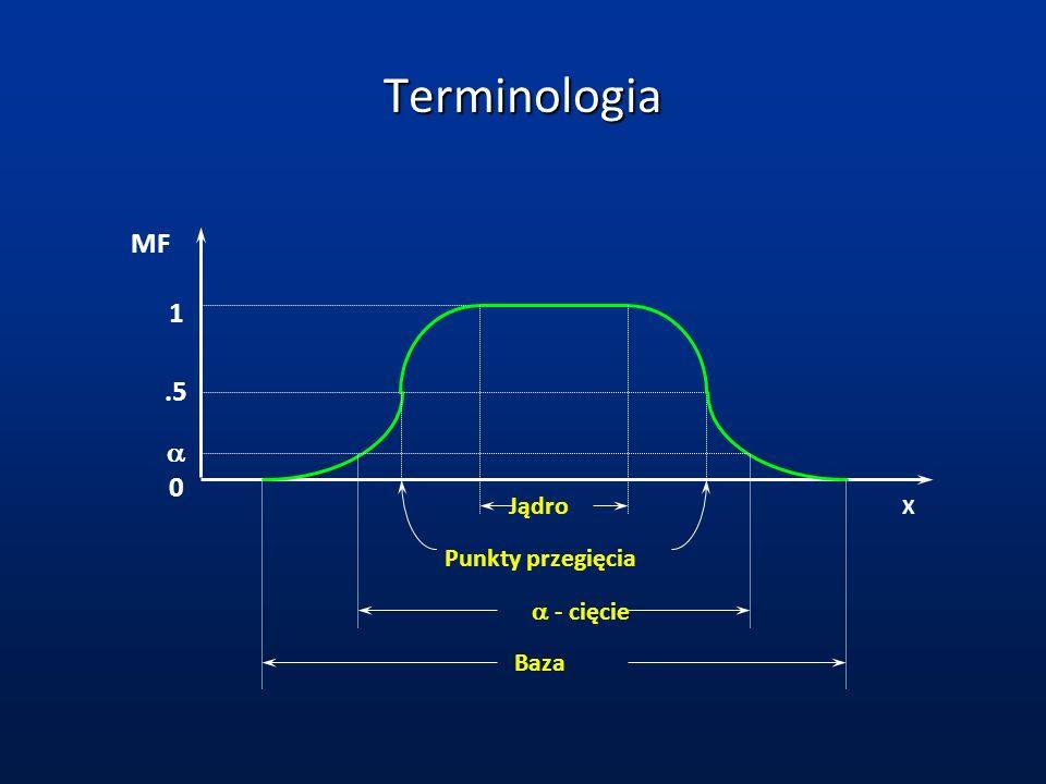 Terminologia MF 1 .5 a Jądro X Punkty przegięcia a - cięcie Baza