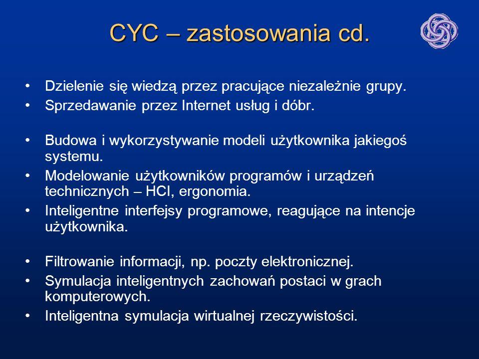 CYC – zastosowania cd. Dzielenie się wiedzą przez pracujące niezależnie grupy. Sprzedawanie przez Internet usług i dóbr.
